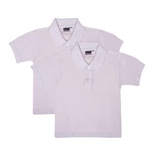 UD - Value WHITE Polo Shirts - TWIN PACK